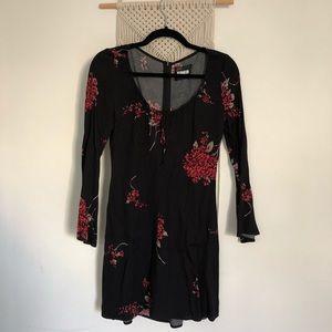 Reformation bell sleeve scoop neck floral dress
